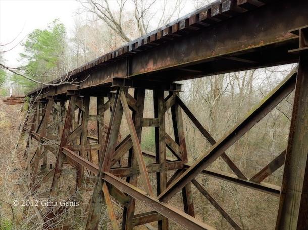 An old bridge along the Cape Fear River Trail