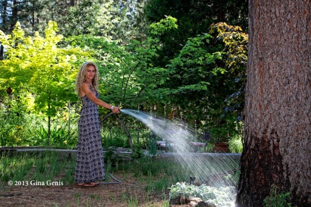 Kenna Dahleen watering her vegetable garden in Everybody And Their Mother - Idyllwild, CA Volume 2